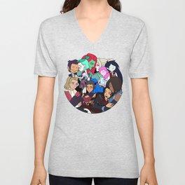LGBT Cartoon Girls Crossover Unisex V-Neck