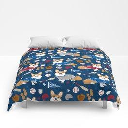 Corgi baseball themes sports dog fabric welsh corgis dog breeds gifts Comforters