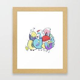 Techno-Color Birds Framed Art Print