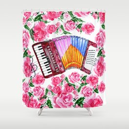 Accordion with pink roses Shower Curtain