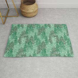 Green Summer Conifer Forest Watercolor Pattern Rug