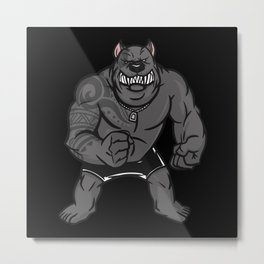 Muscular Dog With Tattoos And Fists Metal Print