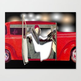 Art Deco Woman in Red Sports Car Canvas Print