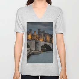 Conwy Castle by Lamplight Unisex V-Neck