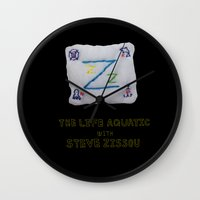 steve zissou Wall Clocks featuring zissou flag from lifeaquatic with steve zissou by 21871