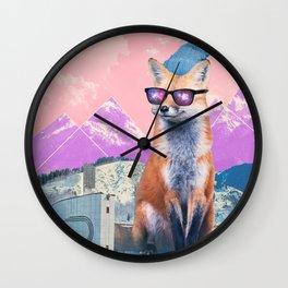 Fox at the rink Wall Clock