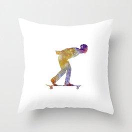 Man skateboard 03 in watercolor Throw Pillow