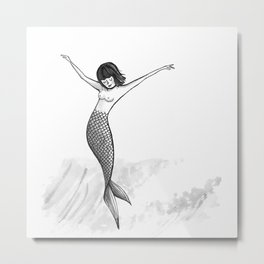 Cross Step Mermaid Metal Print