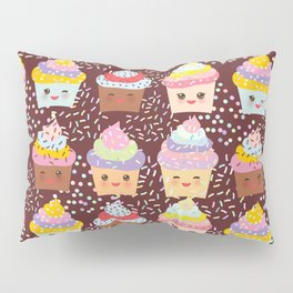 Cupcake Kawaii funny muzzle with pink cheeks and winking eyes Pillow Sham