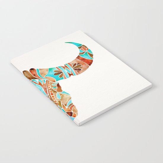 Water Buffalo Skull – Blue & Brown Notebook