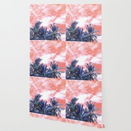 Surreal Wild and Free Palm Trees - Coral & Blue Wallpaper