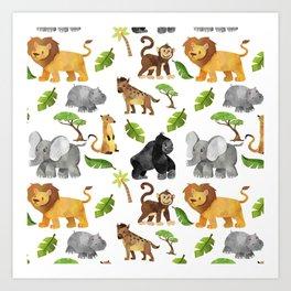 Safari Animals Pattern Watercolor Art Print