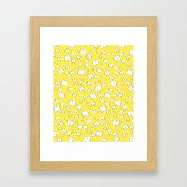 Sunny Yellow Flying Books Pattern Framed Art Print