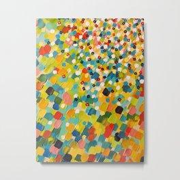 SWEPT AWAY 3 - Fresh Green Colorful Rainbow Ocean Waves Mermaid Splash Abstract Acrylic Painting Metal Print