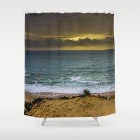 portugal Shower Curtains featuring Fonte da Telha, Portugal by Elias Silva Photography
