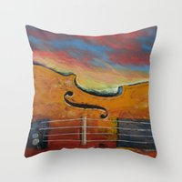 violin Throw Pillows featuring Violin by Michael Creese