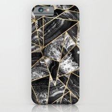 Black White Agate Black Gold Geometric Triangles iPhone 6s Slim Case