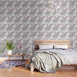 Gray & pink glitter faux messy marble texture Wallpaper