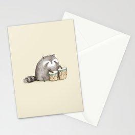 Raccoon on Bongos Stationery Cards
