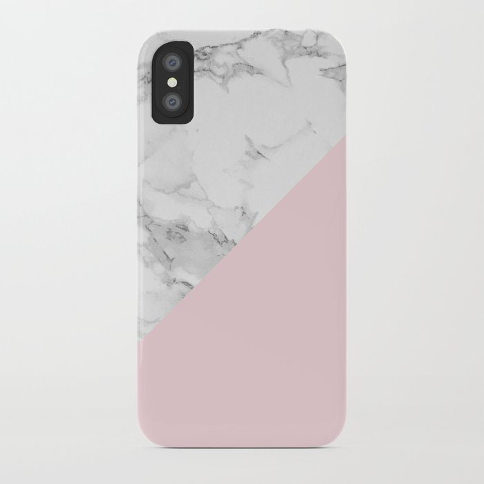 marble + pastel pink iphone case