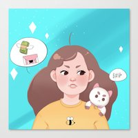 bee and puppycat Canvas Prints featuring Bee and Puppycat by Cookie