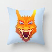 charizard Throw Pillows featuring Flaming Dragon by Head Glitch