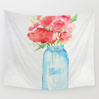 craftberrybush Wall Tapestries featuring Ball Jar - Watercolor  by craftberrybush