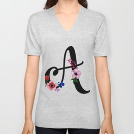 Letter A Watercolor Floral Background Unisex V-Neck