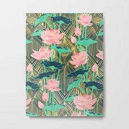 Art Deco Lotus Flowers in Peach & Emerald Metal Print