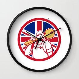British Locksmith Union Jack Flag Icon Wall Clock