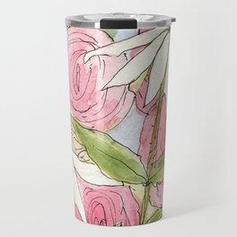 Pink Hollyhock and White Coneflower Garden Flowers Travel Mug