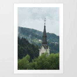 Church Steeple in the Fog Art Print