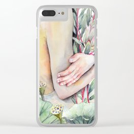 Serena Watercolor Forest Girl, holding Protea and Lotus Plants Clear iPhone Case