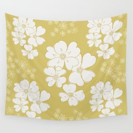 White thoughts on gold Wall Tapestry