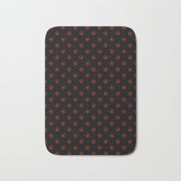 Scarlet Red on Black Snowflakes Bath Mat