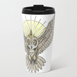 Mason Owl with skull, rule, compass and the eye that sees everything (tattoo style - color version) Travel Mug