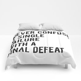 F Scott Fitzgerald - Never Confuse A Single Failure With A Final Defeat Print Comforters