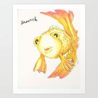 Smooch the goldfish Art Print