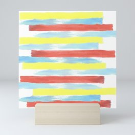 Watercolor horizontal paint stripes in primary colors, red, yellow, blue Mini Art Print