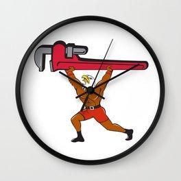 Bald Eagle Plumber Monkey Wrench Isolated Cartoon Wall Clock
