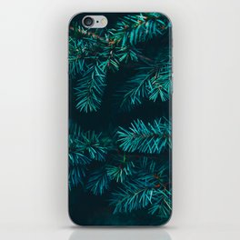 Pine Tree Close Up Neon Green Colorful Leaves Against A Black Background iPhone Skin