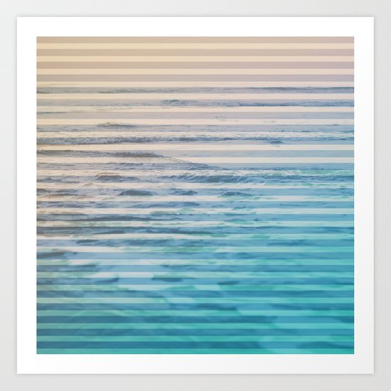 Sunrise Ocean Stripes Art Print