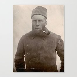 Bearded Ship Captain with Pipe - Vintage Photo Canvas Print