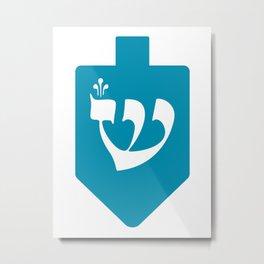 Turquoise Hanukkah Dreidel with the Letter Shin Metal Print