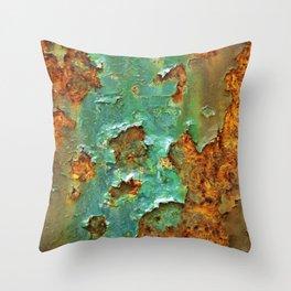Rust and Deep Aqua Blue Abstract Throw Pillow