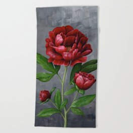 Red Peony Flower Painting Beach Towel