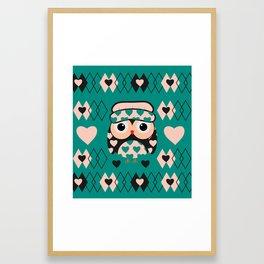Owl and heart pattern Framed Art Print