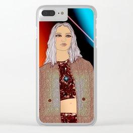 Social Jetlag - Mean Girls Stare, Nice Girls Smile - Digital Art Clear iPhone Case