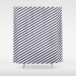 Midnight Blue, Tan, and Light Cyan Colored Pattern of Stripes Shower Curtain