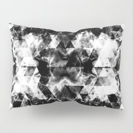 Electrifying black and white sparkly triangle flames Pillow Sham